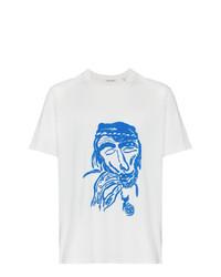 T-shirt à col rond imprimé blanc et bleu Our Legacy