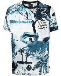 T-shirt à col rond imprimé blanc et bleu Paul Smith