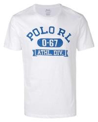 T-shirt à col rond imprimé blanc et bleu Polo Ralph Lauren