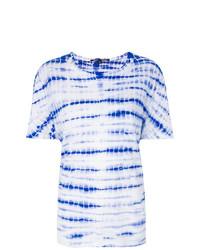 T-shirt à col rond imprimé blanc et bleu Proenza Schouler