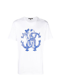 T-shirt à col rond imprimé blanc et bleu Roberto Cavalli