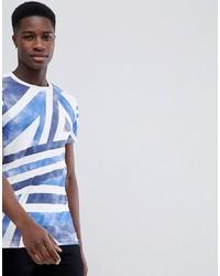 T-shirt à col rond imprimé blanc et bleu Tom Tailor