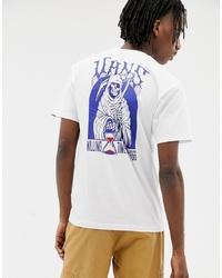 T-shirt à col rond imprimé blanc et bleu Vans