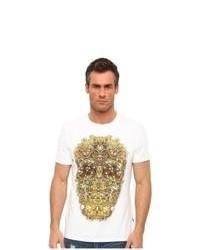 T-shirt à col rond imprimé blanc et jaune