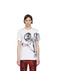 T-shirt à col rond imprimé blanc et noir Alexander McQueen
