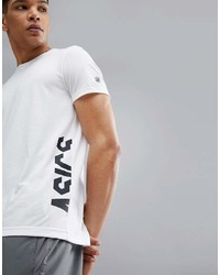 T-shirt à col rond imprimé blanc et noir Asics