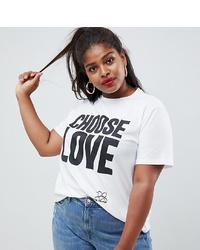 T-shirt à col rond imprimé blanc et noir Asos Curve