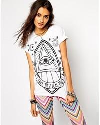T-shirt à col rond imprimé blanc et noir Asos