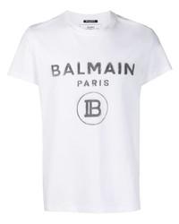 T-shirt à col rond imprimé blanc et noir Balmain