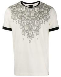 T-shirt à col rond imprimé blanc et noir Billionaire