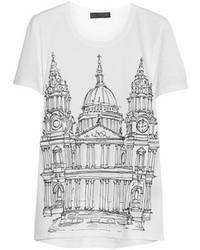 T-shirt à col rond imprimé blanc et noir Burberry