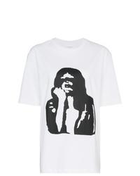 T-shirt à col rond imprimé blanc et noir Calvin Klein Jeans Est. 1978