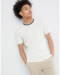 T-shirt à col rond imprimé blanc et noir Celio