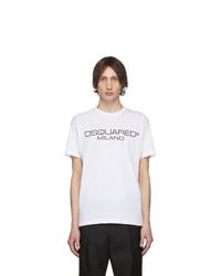 T-shirt à col rond imprimé blanc et noir DSQUARED2