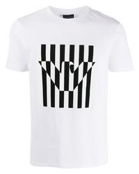 T-shirt à col rond imprimé blanc et noir Emporio Armani