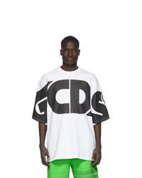 T-shirt à col rond imprimé blanc et noir Gcds