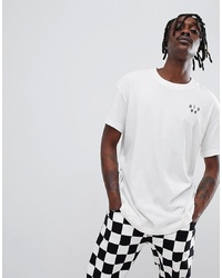 T-shirt à col rond imprimé blanc et noir Globe