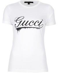 T-shirt à col rond imprimé blanc et noir Gucci