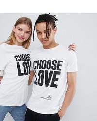 T-shirt à col rond imprimé blanc et noir Help Refugees