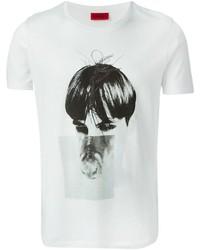 T-shirt à col rond imprimé blanc et noir Hugo Boss