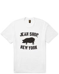 T-shirt à col rond imprimé blanc et noir Jean Shop