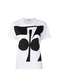 T-shirt à col rond imprimé blanc et noir Junya Watanabe