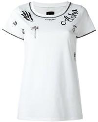 T-shirt à col rond imprimé blanc et noir Loha Vete