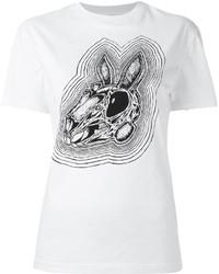 T-shirt à col rond imprimé blanc et noir MCQ