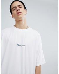 T-shirt à col rond imprimé blanc et noir Mennace