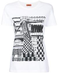 T-shirt à col rond imprimé blanc et noir Missoni