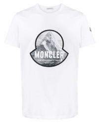 T-shirt à col rond imprimé blanc et noir Moncler