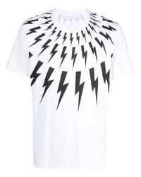T-shirt à col rond imprimé blanc et noir Neil Barrett