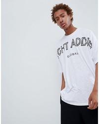 T-shirt à col rond imprimé blanc et noir Night Addict