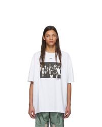 T-shirt à col rond imprimé blanc et noir Off-White