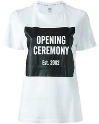 T-shirt à col rond imprimé blanc et noir Opening Ceremony