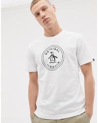 T-shirt à col rond imprimé blanc et noir Original Penguin