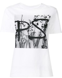 T-shirt à col rond imprimé blanc et noir Paul Smith
