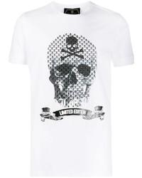 T-shirt à col rond imprimé blanc et noir Philipp Plein