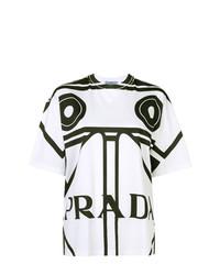 T-shirt à col rond imprimé blanc et noir Prada