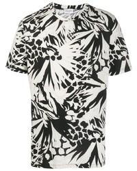 T-shirt à col rond imprimé blanc et noir Saint Laurent