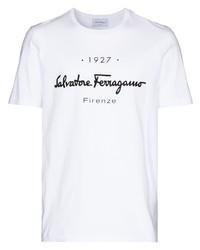 T-shirt à col rond imprimé blanc et noir Salvatore Ferragamo
