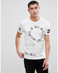 T-shirt à col rond imprimé blanc et noir Solid