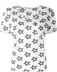 T-shirt à col rond imprimé blanc et noir