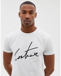 T-shirt à col rond imprimé blanc et noir The Couture Club