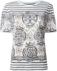 T-shirt à col rond imprimé blanc et noir Tory Burch