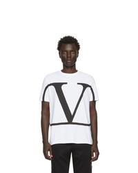 T-shirt à col rond imprimé blanc et noir Valentino