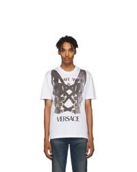 T-shirt à col rond imprimé blanc et noir Versace