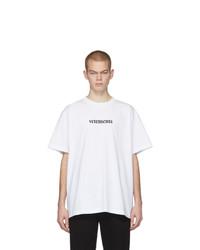 T-shirt à col rond imprimé blanc et noir Vetements