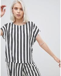 T-shirt à col rond imprimé blanc et noir Weekday