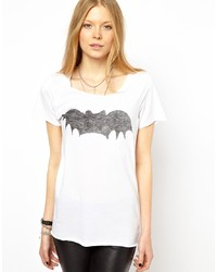 T-shirt à col rond imprimé blanc et noir Zoe Karssen